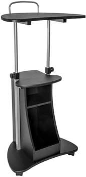 1. Techni Mobili Sit-to-Stand Rolling Adjustable Height Laptop Cart with Storage, Graphite