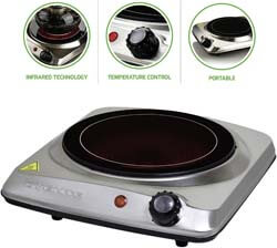 3. Ovente Electric Glass Infrared Burner 7 Inch Single Hot Plate
