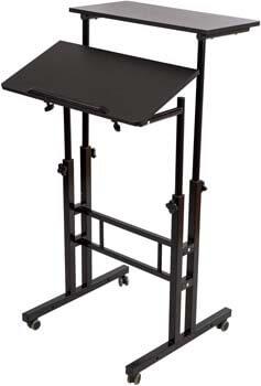 9. BarleyHome Mobile Stand Up Desk, Adjustable Laptop Desk
