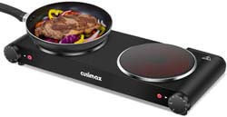 1. Cusimax Portable Electric Stove, 1800W Infrared Double Burner