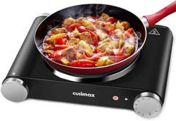 2. Cusimax Hot Plate Portable Electric Stove Countertop Single Burner 1500W