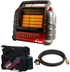 8. Mr. Heater Propane Big Buddy Portable Heater w/ Water Res Bag & 10' Propane Hose