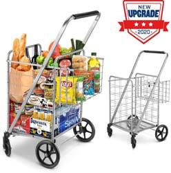 4. winkeep Shopping Cart, Jumbo Double Basket Grocery Cart