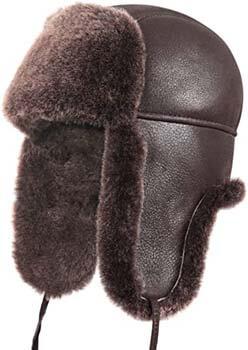 7. Zavelio Unisex Shearling Sheepskin Leather Aviator Russian Ushanka Trapper Winter Fur Hat