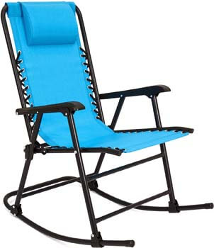 5. Best Choice Products Foldable Zero Gravity Rocking Patio Recliner Chair Light Blue