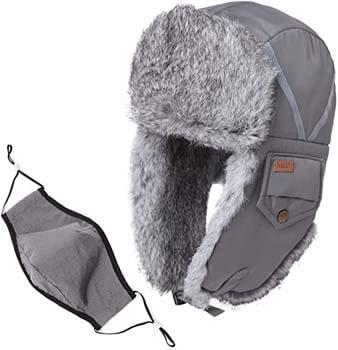 1. Comhats Unisex 100% Rabbit Fur Trapper Ushanka Russian Hat Nylon Shell Windproof