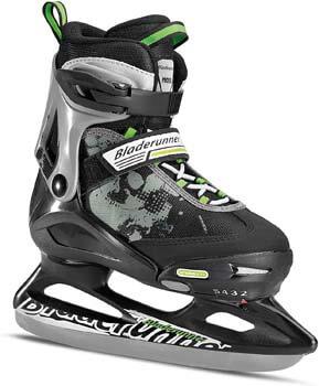 9. Rollerblade Bladerunner Kids Ice Skates, Black/Green, Size 12J-2