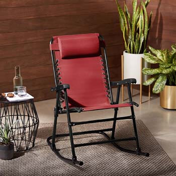 6. AmazonBasics Foldable Rocking Chair, Red