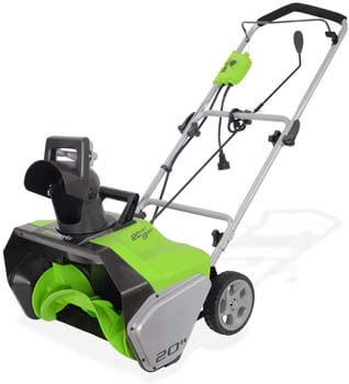 6. Greenworks 20-Inch 13 Amp Corded Snow Thrower 2600502