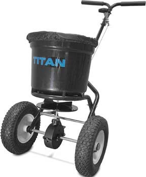 6. Titan 50 Lb. Fertilizer Broadcast Spreader, Lawn Care and Ice Melter Yard Tool