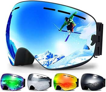 2. Zerhunt Ski Goggles, Anti Fog UV Protection Snowboard Goggles for Men Women