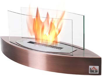 2. HOMCOM Portable Tabletop Ventless Bio Ethanol Fireplace Glass – Bronze