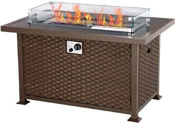 8. U-MAX 44in Outdoor Propane Gas Brown PE Rattan Fire Pit Table