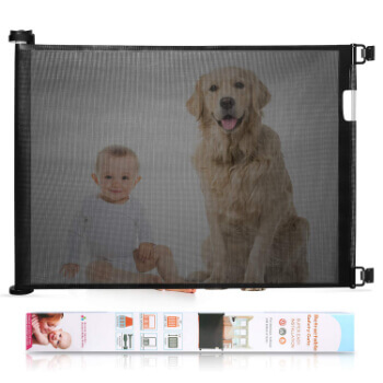 5. Babepai Retractable Baby Gate Wide Safety Mesh Gate Easy to Roll and Latch, Flexible and Extensible Pets Gate, Black