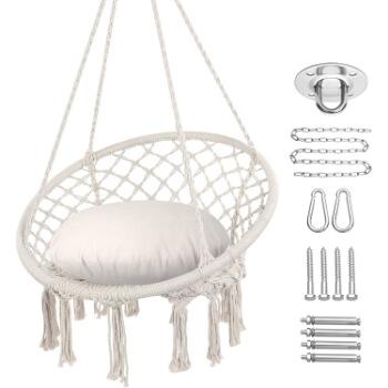 4. Y- STOP Hammock Chair Macrame Swing, Max 330 Lbs, Hanging Cotton Rope