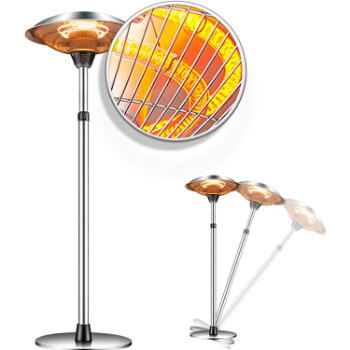 1. Patio Heater Outdoor Electric Heater - Garage Heater Infrared Carbon Tube Heater 3 Adjustable Level Standing Patio Heater, Overheat Protection