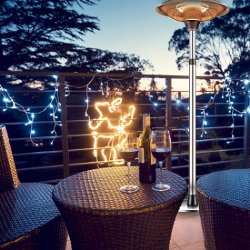 4. Outdoor Patio Heater Electric Heater - Infrared Carbon Tube Heater, Waterproof Space Heater with 3 Power Levels for Patio, Tip-Over Shut Off
